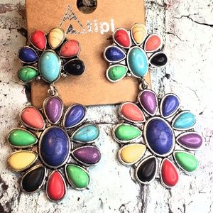 Jewelry - Boho carnival squash blossom earrings western